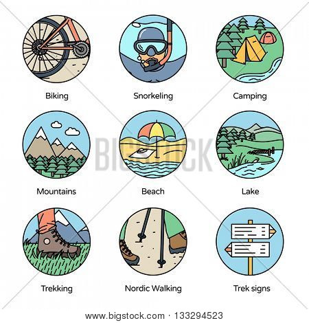 Adventure Circle Icons Collection 1. Trekking, camping and outdoor activities in flat line icons style.
