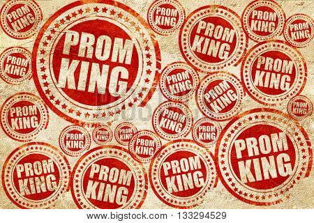 prom king, red stamp on a grunge paper texture