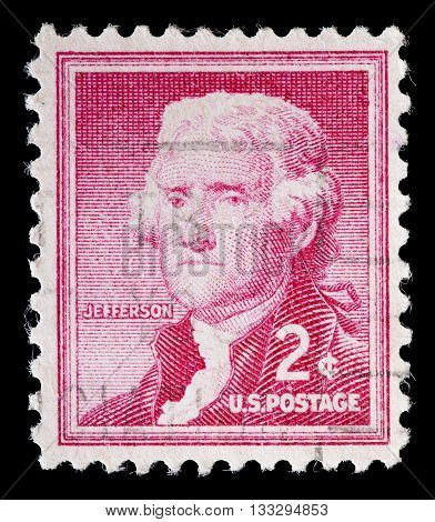 United States Used Postage Stamp Showing President Thomas Jefferson