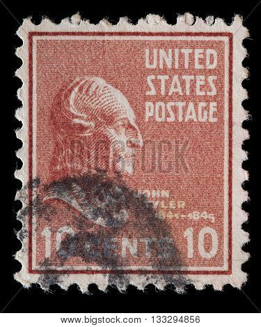 United States Used Postage Stamp Showing President John Tyler