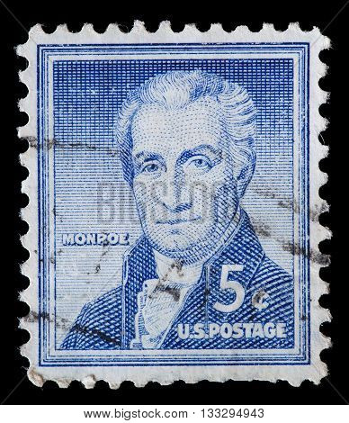 United States Used Postage Stamp Showing President James Monroe