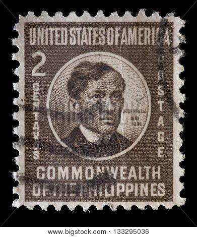 United States Used Postage Stamp Showing Revolutionist Jose Rizal