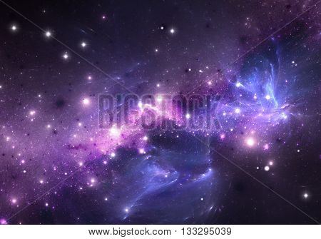 Space background filled with nebulae and stars. Illustration