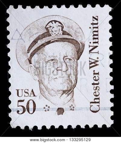 United States Used Postage Stamp Showing Admiral Chester William Nimitz