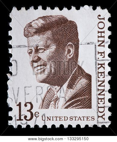United States Used Postage Stamp Showing President John Fitzgerald Kennedy