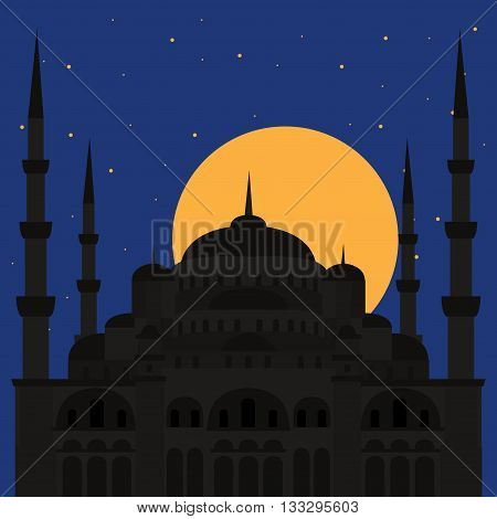 The Blue Mosque Sultanahmet Camii Istanbul Turkey middle east islamic architecture flat