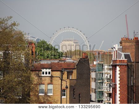 London Kensington Roof View with The Eye in Background