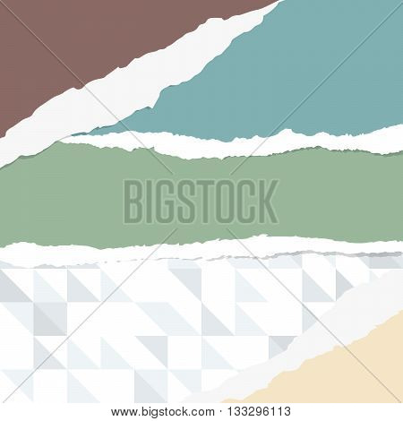 Pieces of ripped colorful blank paper sheets are stuck on gray geometric triangle pattern.
