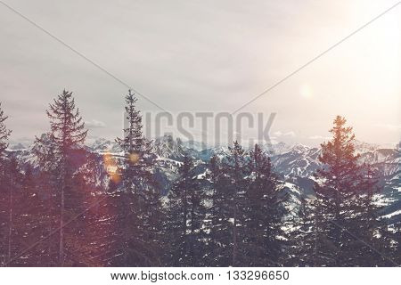 Bright flare from sun in winter storm clouds over mountain range with snow and forest of evergreens in foreground