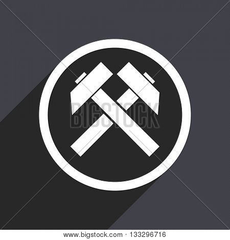 mining icon, gray vector flat design internet button, web and mobile app illustration
