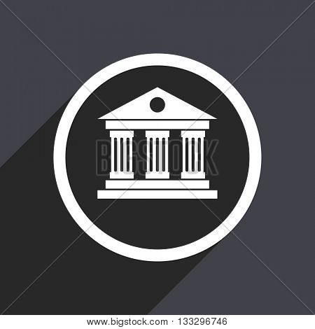 museum icon, gray vector flat design internet button, web and mobile app illustration