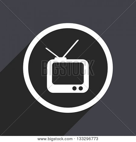 tv icon, gray vector flat design internet button, web and mobile app illustration