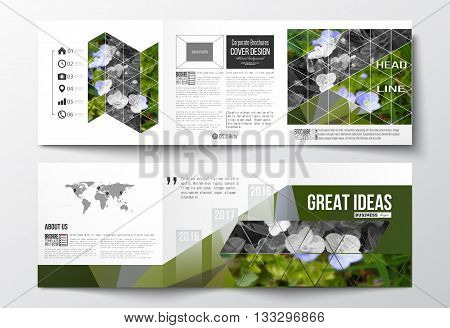 Vector set of tri-fold brochures, square design templates with element of world map. Polygonal floral background, blurred image, blue flowers in green grass closeup, modern triangular texture