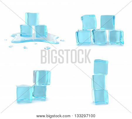 Melting ice cubes isolated on white background.