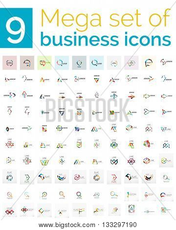 Logo mega collection - huge set of logotypes and branding emblems, business company identity icons. 100 vector corporate templates