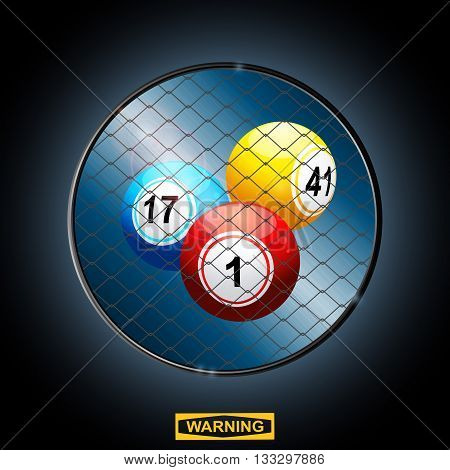Bingo Balls in a Circular Metallic Cage Border with Warning Sign and Lens Flares