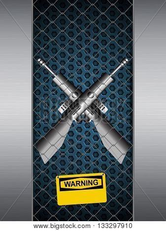 Guns Crossing in A Brushed Metallic Cage with Yellow Warning Sign Background