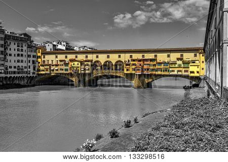 Ponte vecchio in black and white background, Florence or Firenze, Italia