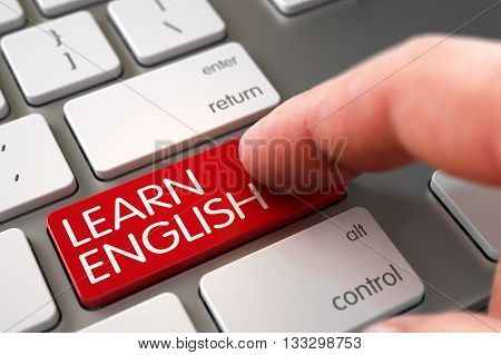 Learn English Concept - Modernized Keyboard with Button. Close Up view of Male Hand Touching Learn English Computer Key. Hand Pushing Learn English Red White Keyboard Button. 3D Render.