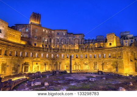 Trajan's forum, Traiani by night in Roma, Italy, hdr
