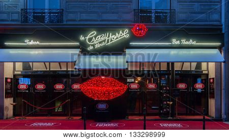 Paris France-June 05 2016 : The famous cabaret Crazy horse is the most iconic of all the parisian cabarets located 12 avenue George V in Paris France.