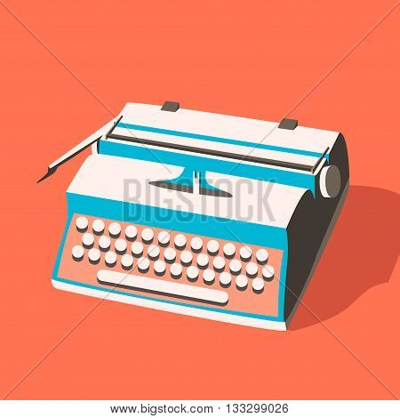 Vintage typewriter. Vector illustration. Isolated background. writing text. Typography. Writer tool. Retro manual typewriter