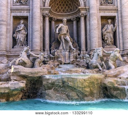 Close up on Trevi fountain by day, Roma, Italy