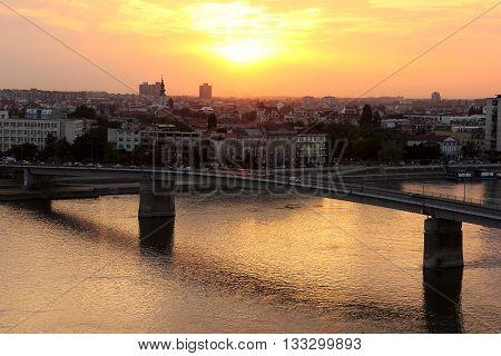 Sunset look on the city of Novi Sad from Petrovaradin fortress