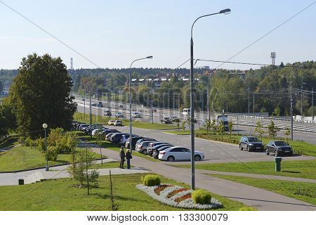 Moscow, Russia - September 16.2015. Street - Centralny Prospekt in a Zelenograd