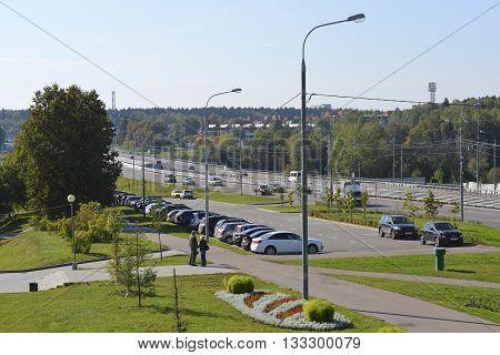 Moscow, Russia - September 16.2015. Street - Centralny Prospekt in a Zelenograd