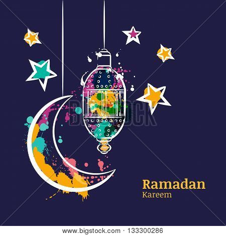 Ramadan Greeting Card With Traditional Watercolor Lantern, Moon And Stars On Night Sky. Ramadan Kare