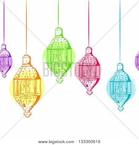 Vector Seamless Horizontal Background With Outline Lanterns. Design For Muslim Ramadan Kareem Holida