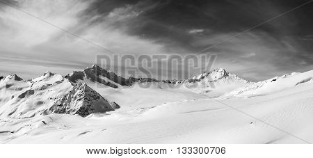 Black and white panoramic view on off-piste slope. Caucasus Mountains Elbrus Region.