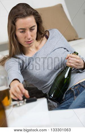 drunk girl holding bottle