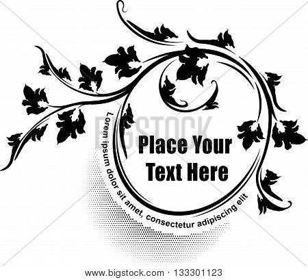 Elegant oval floral vector frame. Template for your design or text.