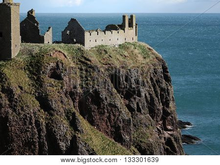 Dunnottar Castle in Scotland Showing Cliff Top Position Against Background of Sea