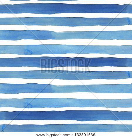 Watercolor stripes seamless patter. Ocean watercolor stripes