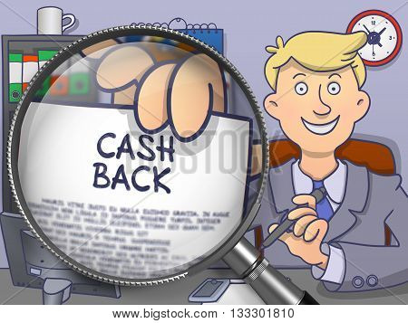 Business Man Sitting in Office and Showing Concept on Paper Cash Back. Closeup View through Lens. Multicolor Modern Line Illustration in Doodle Style.