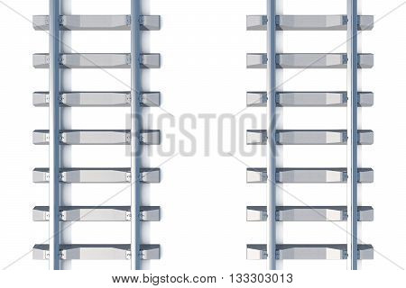 Railway horizontal top view on white background 3d illustration