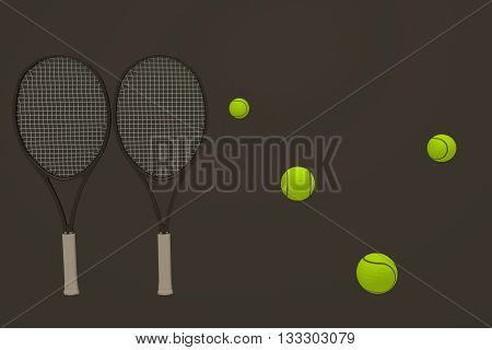 3D rendering of tennis ball and racket in grey background