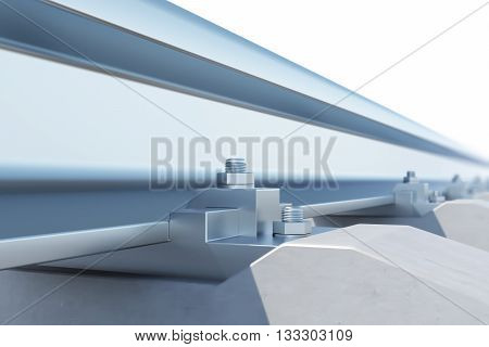 Railway close-up of view of the effect of depth of field 3d illustration