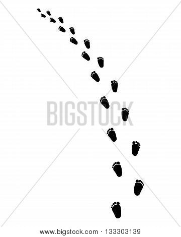 Footsteps of baby on a white background, turn left