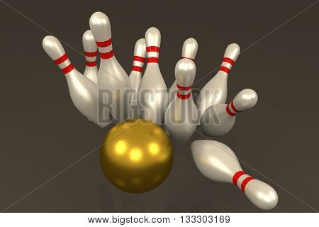 3D rendering of Bowling pins hit by golden ball in grey background