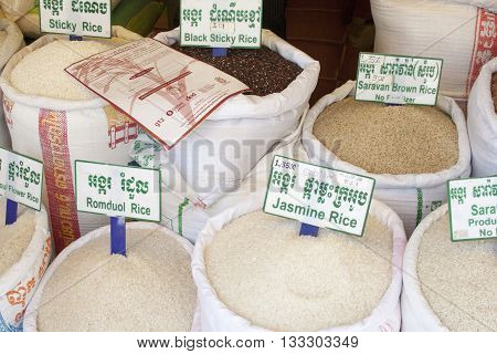 Different Kinds Of Rice In Big Bags