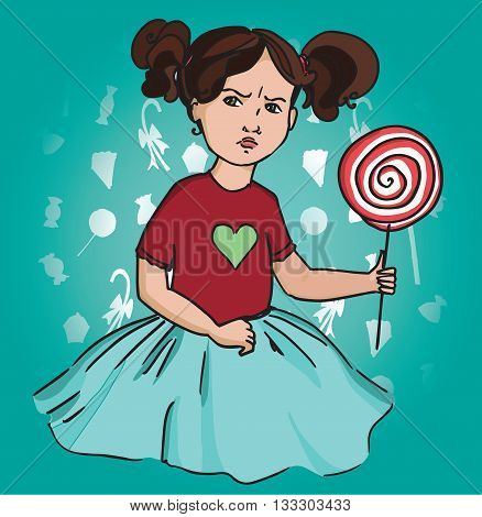 Gloomy girl with Lollipop. Emotions childhood sweets