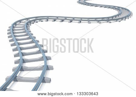 Curved, bend railroad track isolated on white background, 3d illustration