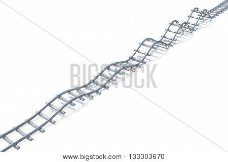 Wave railroad aerial view isolated on white background, 3d illustration