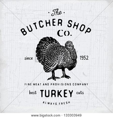 Butcher Shop Vintage Emblem Turkey Meat Products, Butchery Logo Template Retro Style. Vintage Design
