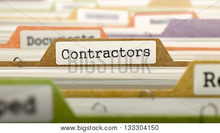 Contractors - Folder Register Name in Directory. Colored, Blurred Image. Closeup View. 3D Render.