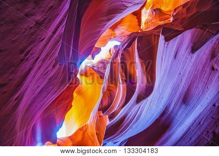 Great red and purple hues slot canyon Antelope.  Arizona, USA. Upper Antelope Canyon in the Navajo reservation